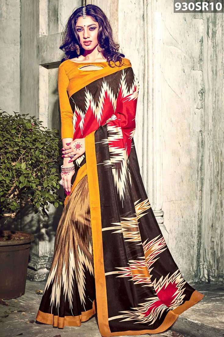 Red, brown and beige art silk saree enhanced with ikat print. Available with yellow art silk blouse.Price US$ 32