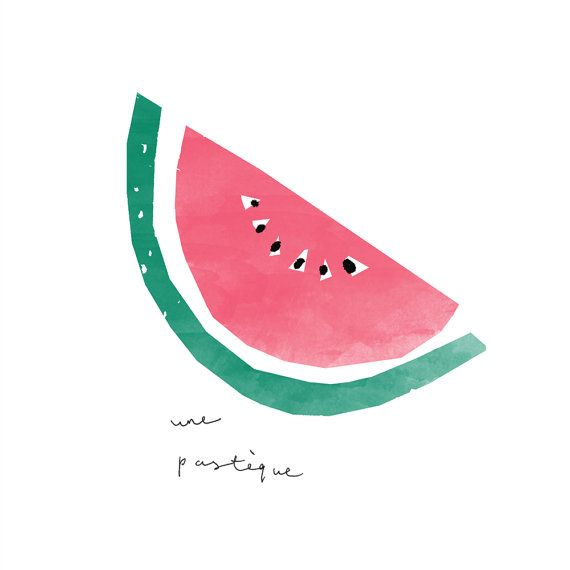 Watermelon Illustrated Art Print une pastéque by TheLovelyDrawer