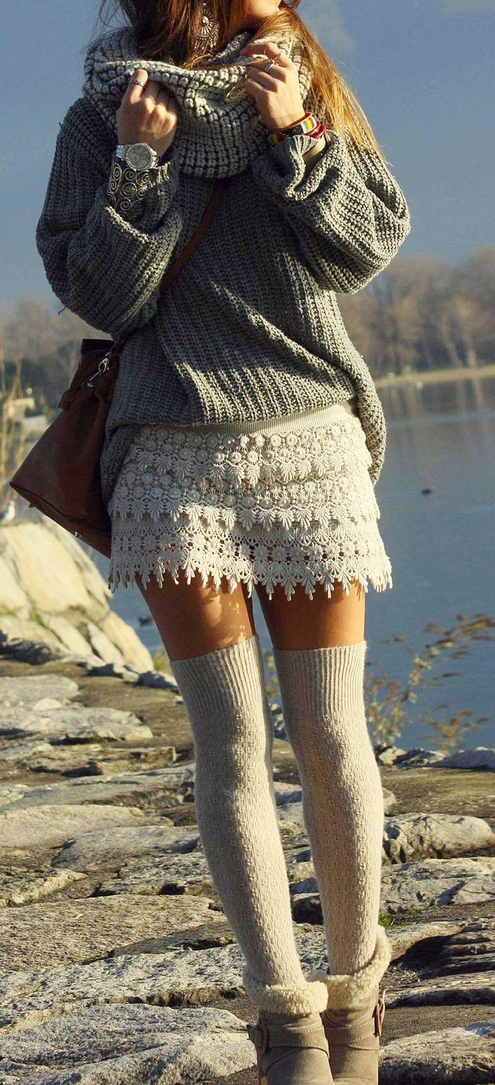 cozy sweater + crochet lace skirt. Chunky infinity scarf boho autumn style fashion
