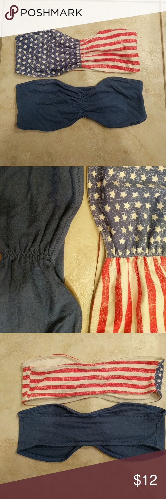 Mudd Flag and solid blue bandeau tops 2 pieces, one flag, one blue, elastic and stretch, junior size lg, great condition, Mudd Intimates & Sleepwear Bandeaus
