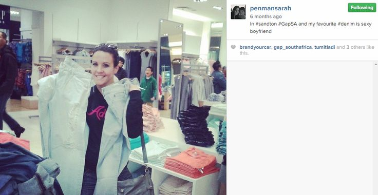 Sarah getting a few pairs of #GapSA jeans from her favourite store...