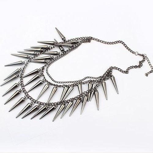 Spike ketting/necklace gun black
