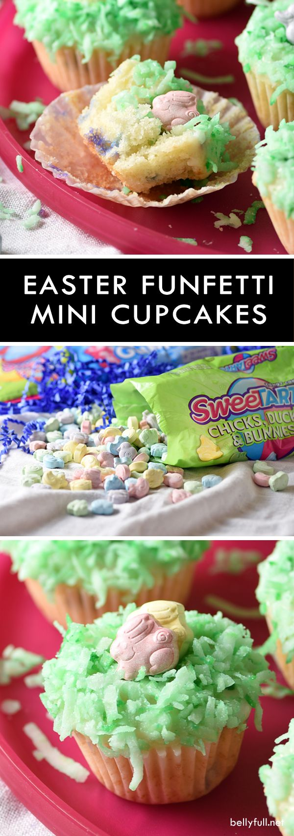 These Easter Mini Funfetti Cupcakes featuring sprinkles, icing, coconut, and @SweeTARTS are a fun springtime treat and super easy to make! #spon