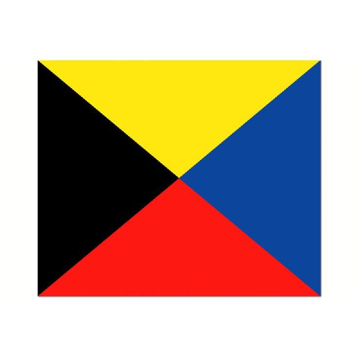 Seinvlag Z 30x36cm Materiaal gemaakt van de beste kwaliteit vlaggenstof, rondom gezoomd met koord en lus, hoogste kwaliteit. Betekenis van deze Signaalvlag Z Zulu : Ik heb een sleepboot nodig!