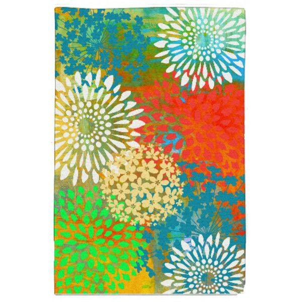 Area Rug Bright Fl Burst Sweet Maria 1 235 Czk Liked On Polyvore Featuring Home Rugs Black Floor Living Machine Washable