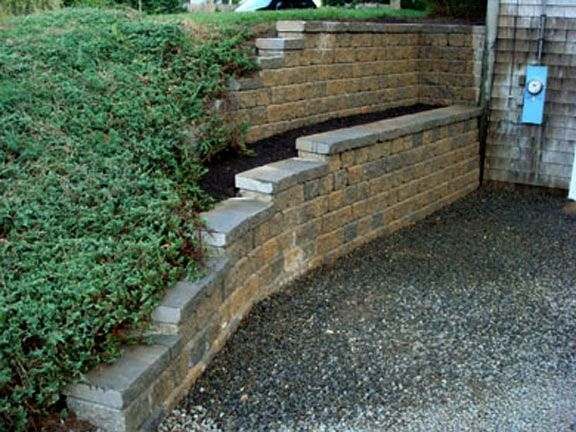 Segmental retaining walls after 1 mike stacy landscaping Walkout basement landscaping pictures