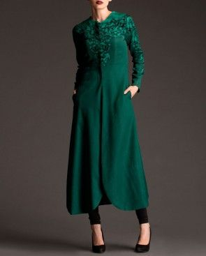 Bottle Green Long Jacket with Floral Print