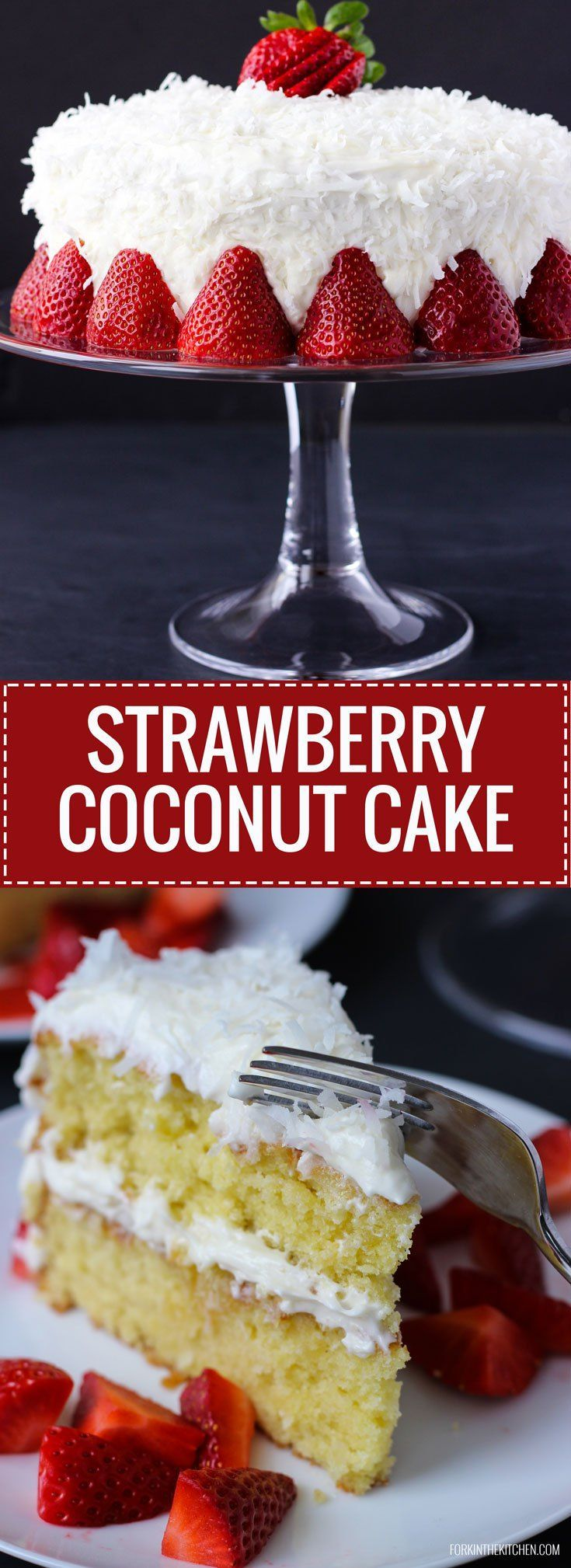 Strawberry Coconut Cake - moist, light, coconut cake with creamy frosting and a sweet strawberry sauce.