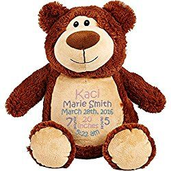 Personalized Stuffed Brown Bear with Embroidered Baby Block in Light Pink, Lavender, and Light Blue
