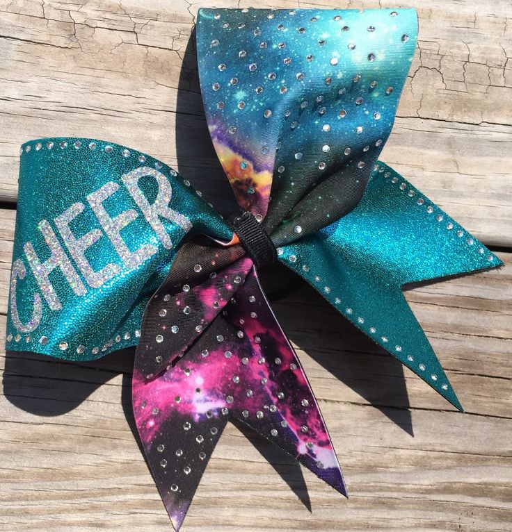 Galaxy and teal fabric cheer bow with rhinestones