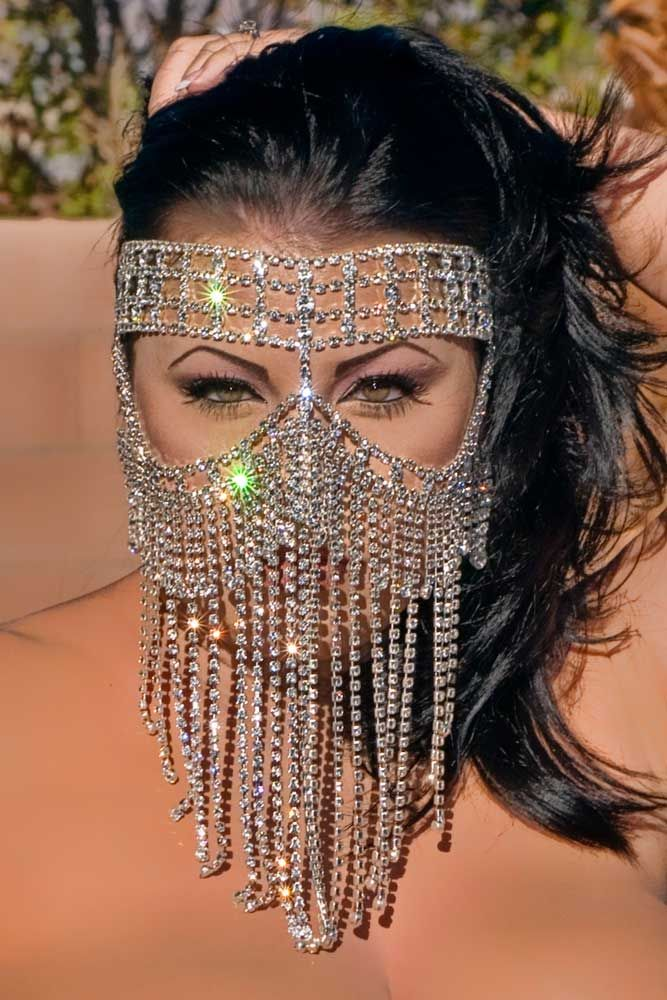 """Swarovski - Genuine Austrian Crystal Rhinestone, Oversized, Fantasy Mask.    11"""" long in the center. Mask fastens securely around the head with elastic bands. Some rhinestone strands are on the sides of the head close to the face"""