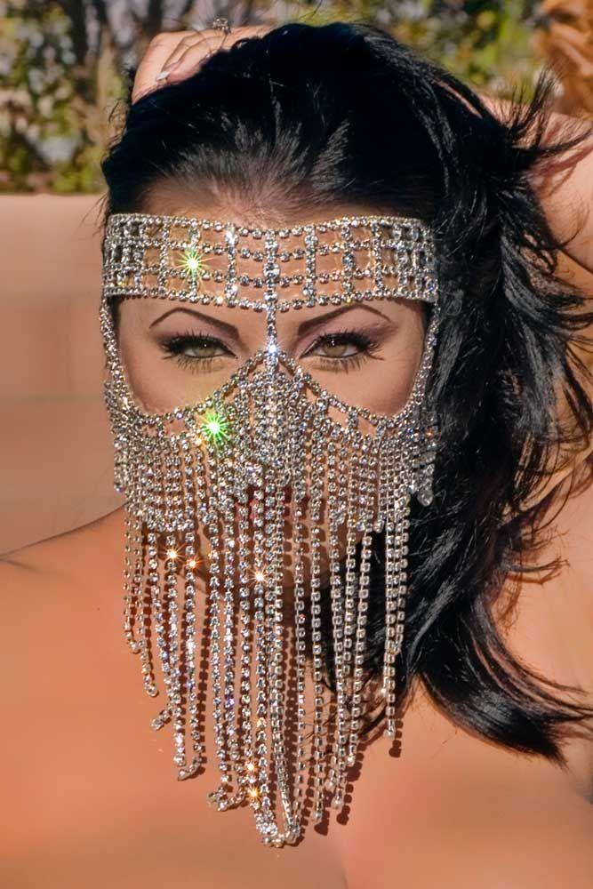 Swarovski Mask - Genuine Austrian Crystal Rhinestone, Oversized, Fantasy Mask