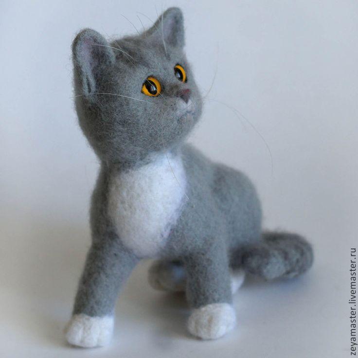 Купить Серый котенок британской породы Бантик. Игрушка из шерсти - серый, кот…