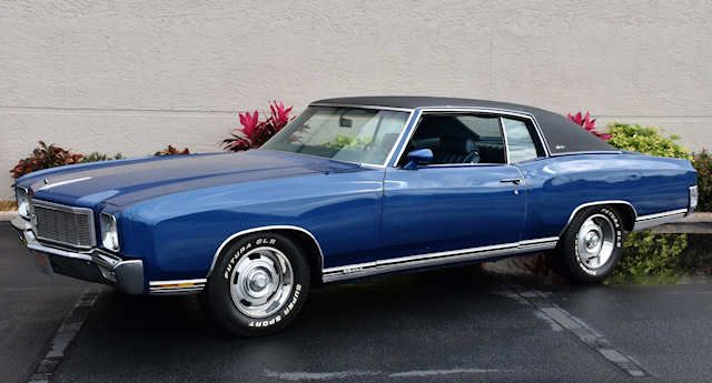 1971 Monte Carlo Mulsanne Blue Blue Vinyl Top Old Muscle Cars Chevrolet Monte Carlo Vintage Muscle Cars