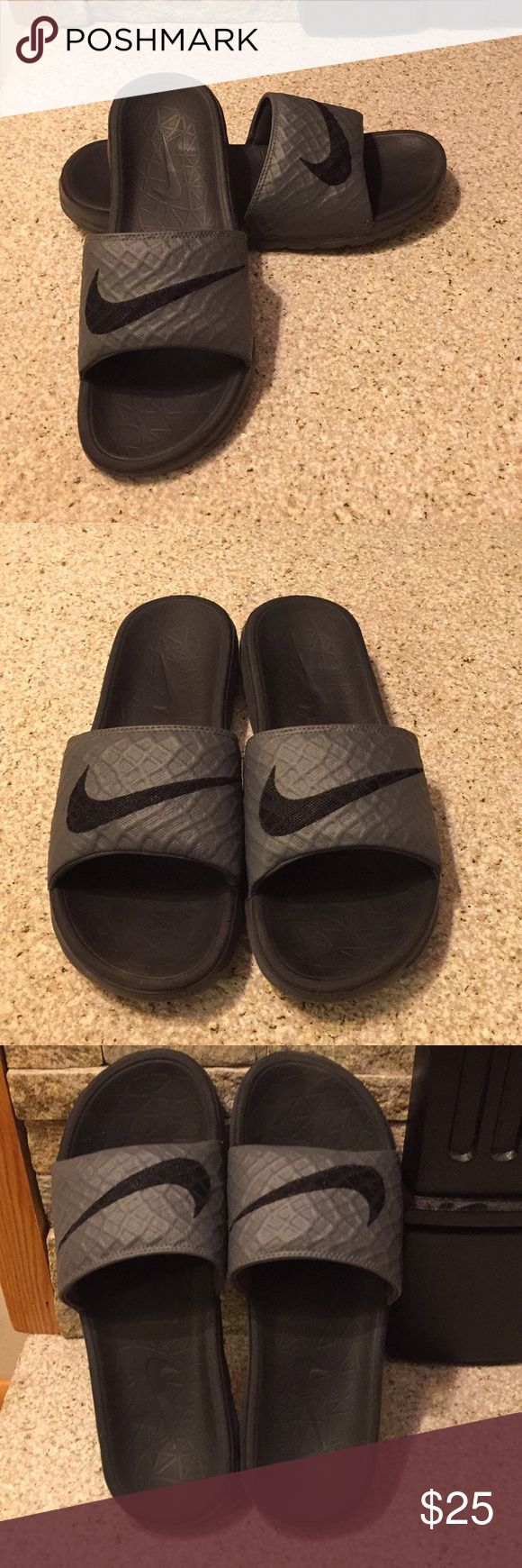 Men's Nike Slide Sandals Size 8 Grey/Black Soft and Comfortable! Nike Men's Slide Sandals in very good used condition (my son outgrew them before he really got to wear them). Perfect for the upcoming spring and summer. Nike Shoes Sandals & Flip-Flops