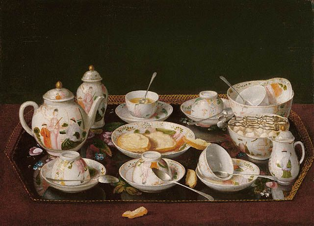 Still Life: Tea Set, Jean-Étienne Liotard (1702–1789) oil on canvas painting  Note: NO handles on the tea dishes (not cups) though handles were being introduced on teacups from c.1760s.