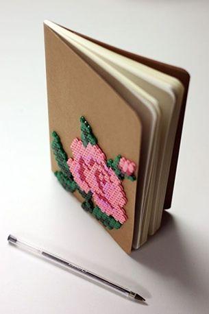diy hama beads ideas perler note book- strijkkralen ideeen inspiratie notitieboek versieren volwassenen