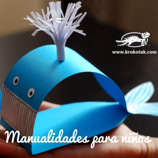 Manualidades para ni os ballena de papel manualidades - Manualidades para ninos con papel ...
