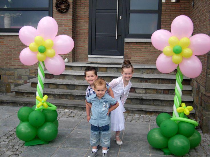 ballon bloemen pilaar