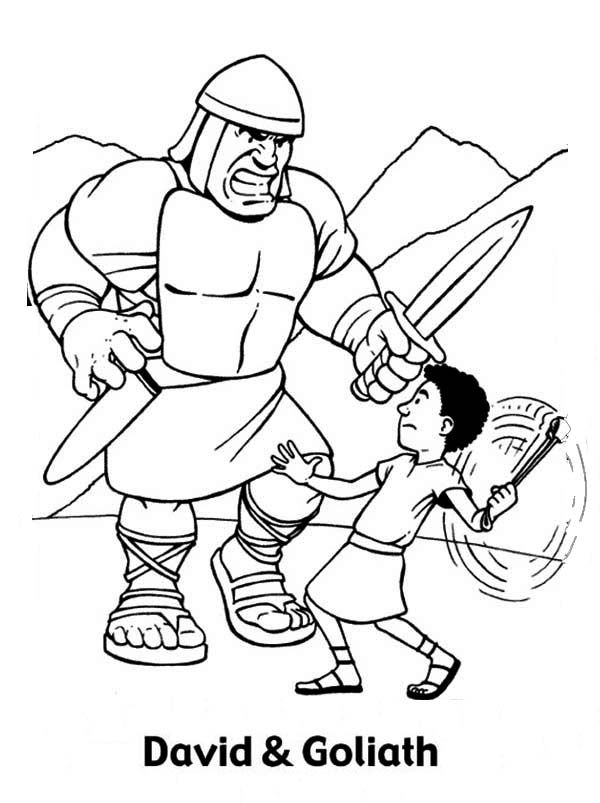 David And Goliath Coloring Pages To Download And Print For