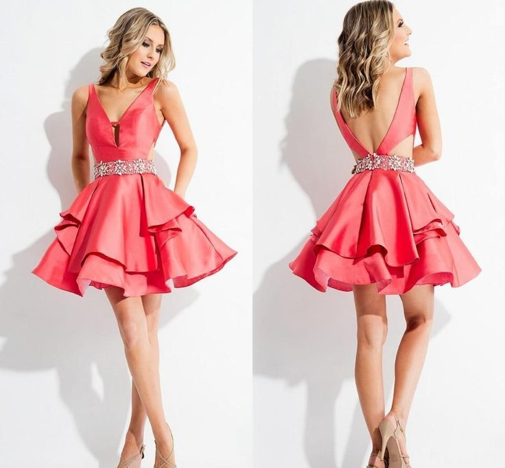 2016 Red Satin Backless Homecoming Dresses Sexy V Neck Tiered Ruffles Skirt Short Prom Dress Cheap Cocktail Gowns With Sashes Formal Gowns On Sale Homecoming Dress Websites From Dmronline, $78.8| Dhgate.Com