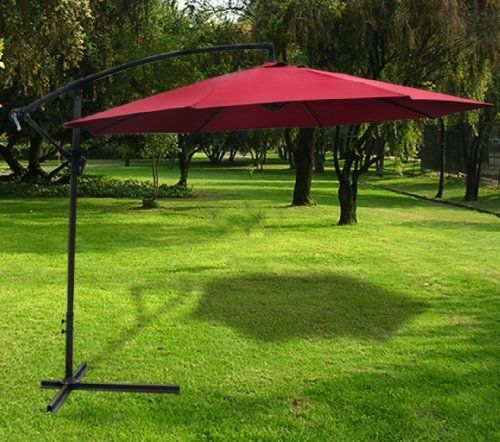 New Deluxe Burgundy 10' Offset Patio Umbrella Off Set Outdoor Market Umbrella by Sky Enterprise USA. $44.95. 10' Diameter. Powder Coated Steel ribs (Anodized Finish). Crank Operation. Steel Bottom Frame (Anodized Finish). 10' Diameter and waterproof. This premium offset umbrella featuring heavy-duty fabric is especially designed to keep you cool and more comfortable than a traditional umbrella. Now you can enjoy your time outdoors on a hot day without just being hot in the ...