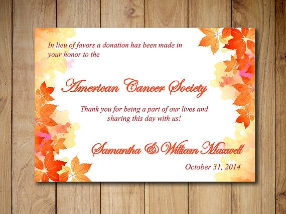 Wedding Favor Donation Card Template Autumn Charity Watercolor Fall