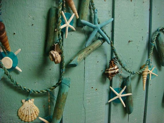 Beach House Garland Turquoise Driftwood Rope Sea Shell Starfish Capiz Bead Ornament Decor on Etsy, $41.00
