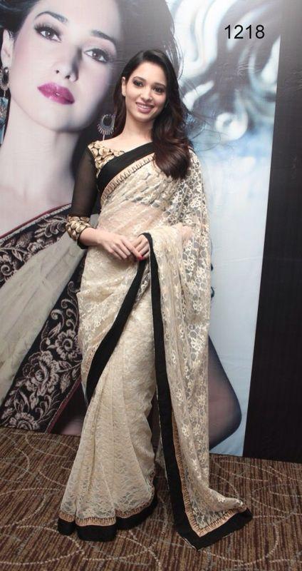 White brasso net saree with blouse