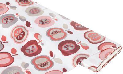 Beschichtetes+Baumwollmischgewebe+Apfel-Design,+rot-grau € 11,50