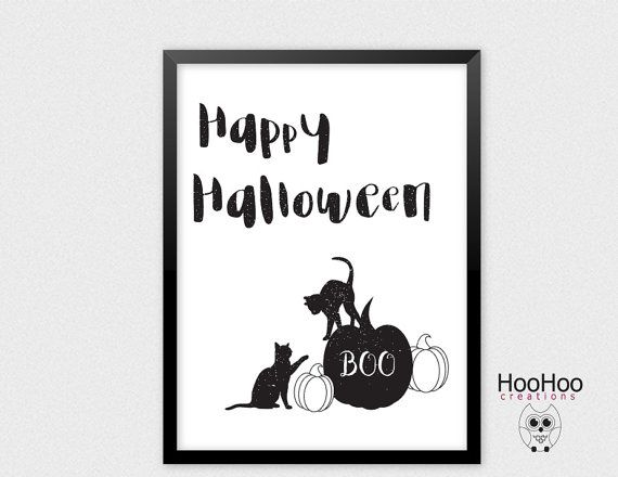 Printable Happy Halloween poster Black cats by HooHooCreations