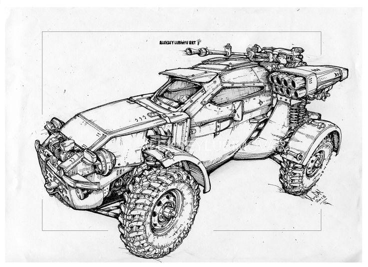 Russian army buggy/Author Aleksey Lubimov. #alekseylubimov_art #алексейлюбимовбиомеханика #алексейлюбимов #стимпанк #дизельпанк #биомеханика #marchofrobots #steampunk #dieselpunk #biomechanical #lineart #engine #motor #inktober2018 #technodoodling