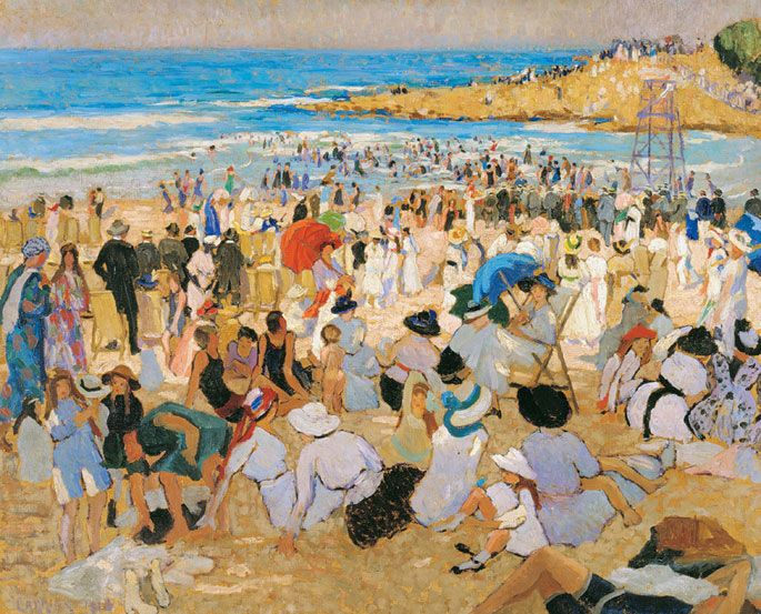 Manly Beach - Summer Is Here', 1913, oil on canvas, by Ethel Carrick Fox