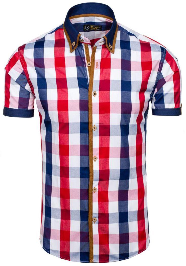 Pánská košile BOLF 5507-1 červená ČERVENÁ | Pánská móda \ Pánské košile \ Košile krátký rukáv Pánská móda \ Pánské košile \ kárované Premium Casual Przecena 15% | Bolf - Internetový Obchod s Oblečením | Oděv | Oblečení | Kabáty | Bundy