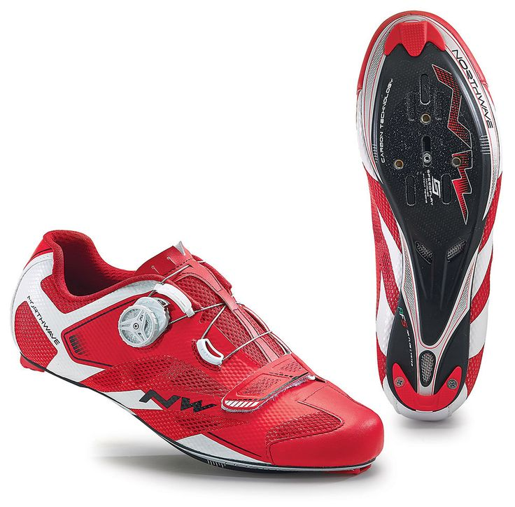 Northwave Sonic 2 Carbon Road Cycling Shoes - Red-White