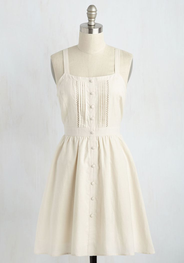 Hugs and Quiches Dress in Parchment. Shake up your weekend routine by hosting a romantic brunch in this pale beige sundress! #white #modcloth