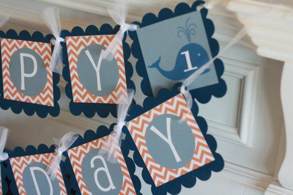 Birthday or Baby Shower Navy Blue and Orange by DreamPartyPaperie, $28.00