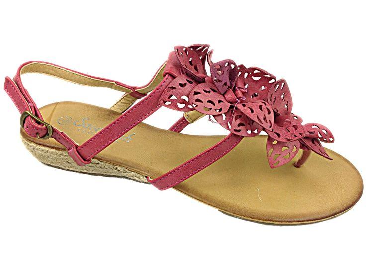 Ladies Girls Pink Faux Leather Flower Toe Post Flip Flop Flat Wedge Sandal Shoe | eBay