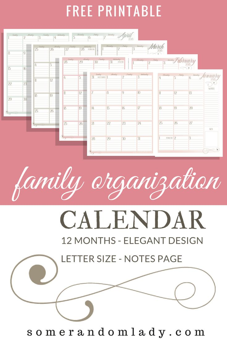 Free printable family organization calendar. Large, two page monthly spreads. Click through for tips on organizing your family with a color coded calendar, chalkboard family command center, and digital calendars and alerts.