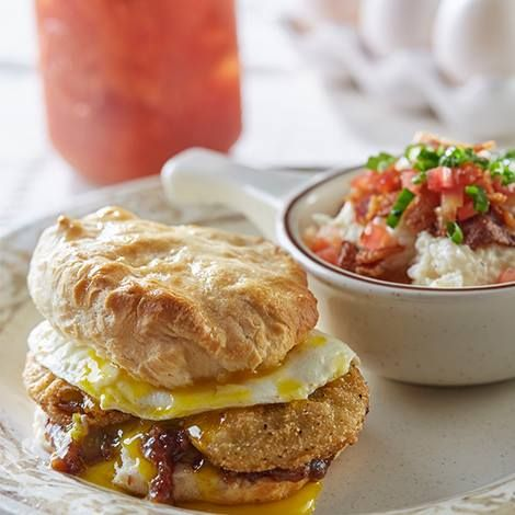 Fried Green Tomato Biscuit with Grits from Another Broken Egg Cafe