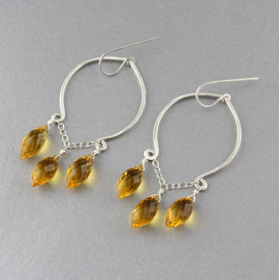 Bright Yellow Chandelier Earrings  Yellow Quartz  Sterling