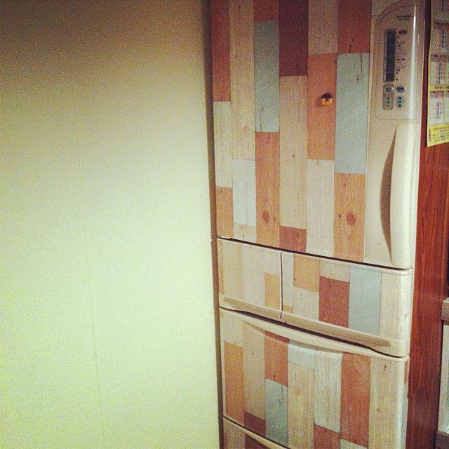 DIY/カッティングシートで冷蔵庫貼りました。/キッチンのインテリア実例 - 2014-01-28 23:22:59 | RoomClip(ルームクリップ)