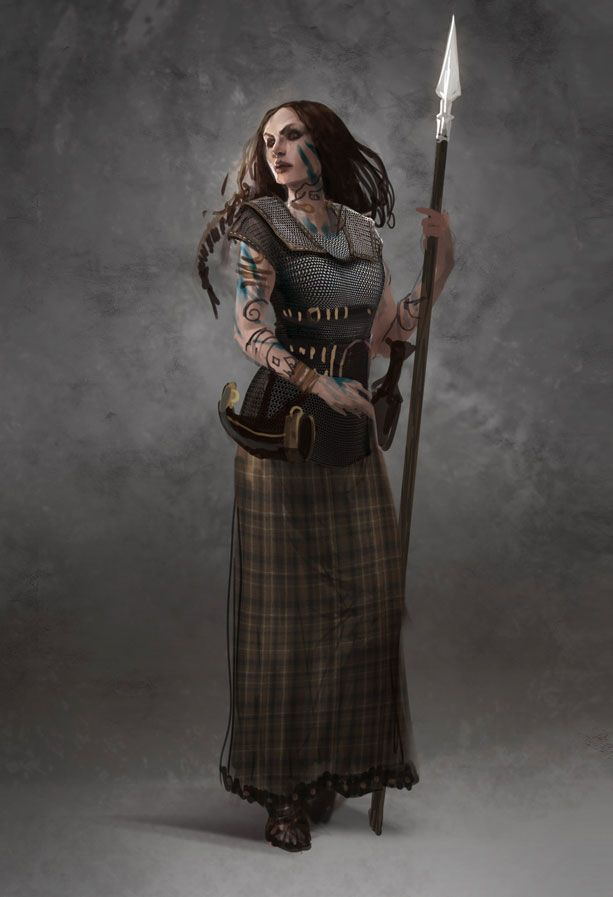 This is a concept of how a Briton woman warrior, such as Boudicca, may have looked like.