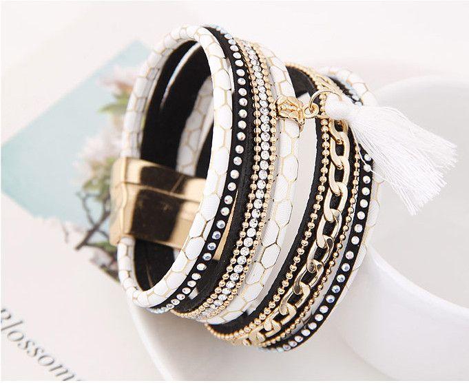 2017 Printemps À La Mode Magnétique Gland Manchette Wrap Bracelet En Cuir