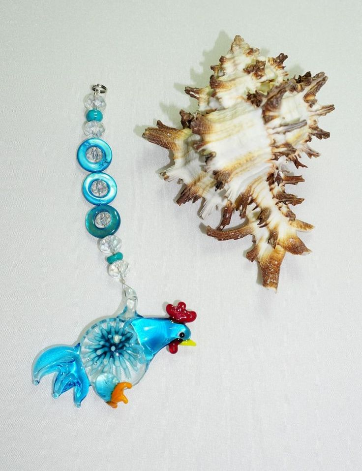 Turquoise, Lampwork Rear View Mirror Charm,  Glass Pendant, Rooster Gifts, NEW