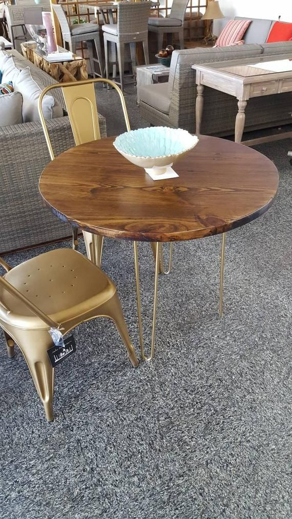 Round Modern Rustic Dinette Kitchen Table Industrial Kitchen Table Dining Table Cafe Tabl Modern Kitchen Tables Midcentury Modern Kitchen Table Dining Table