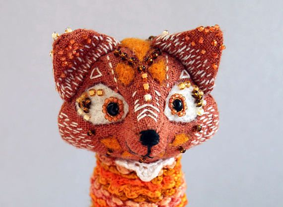 Fantasy textile Fox embroidered toy talisman mascot fox