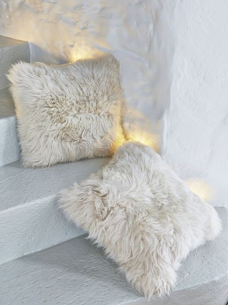 Luxurious Sheepskin Cushion - Champagne (#25012) 35x35cm.
