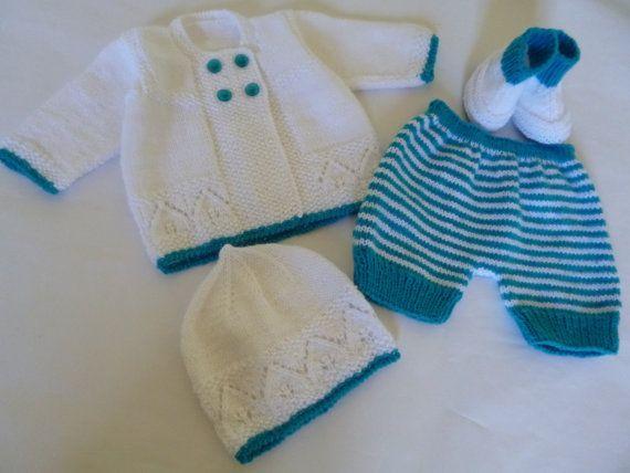 Conjunto Tejido de Punto   Recien Nacido Pantalones Cortos 0 a 3 Meses