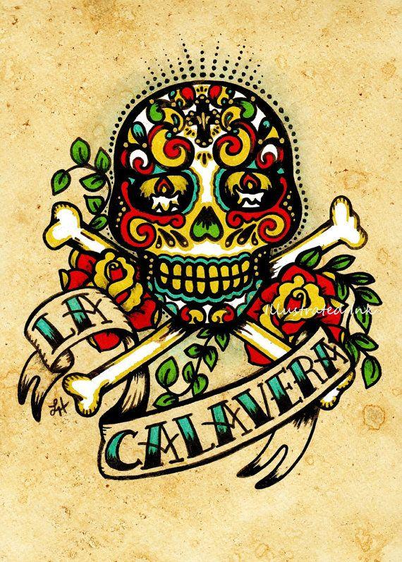 Day of the Dead Sugar Skull Tattoo Art LA CALAVERA Loteria Print 5 x 7 via Etsy